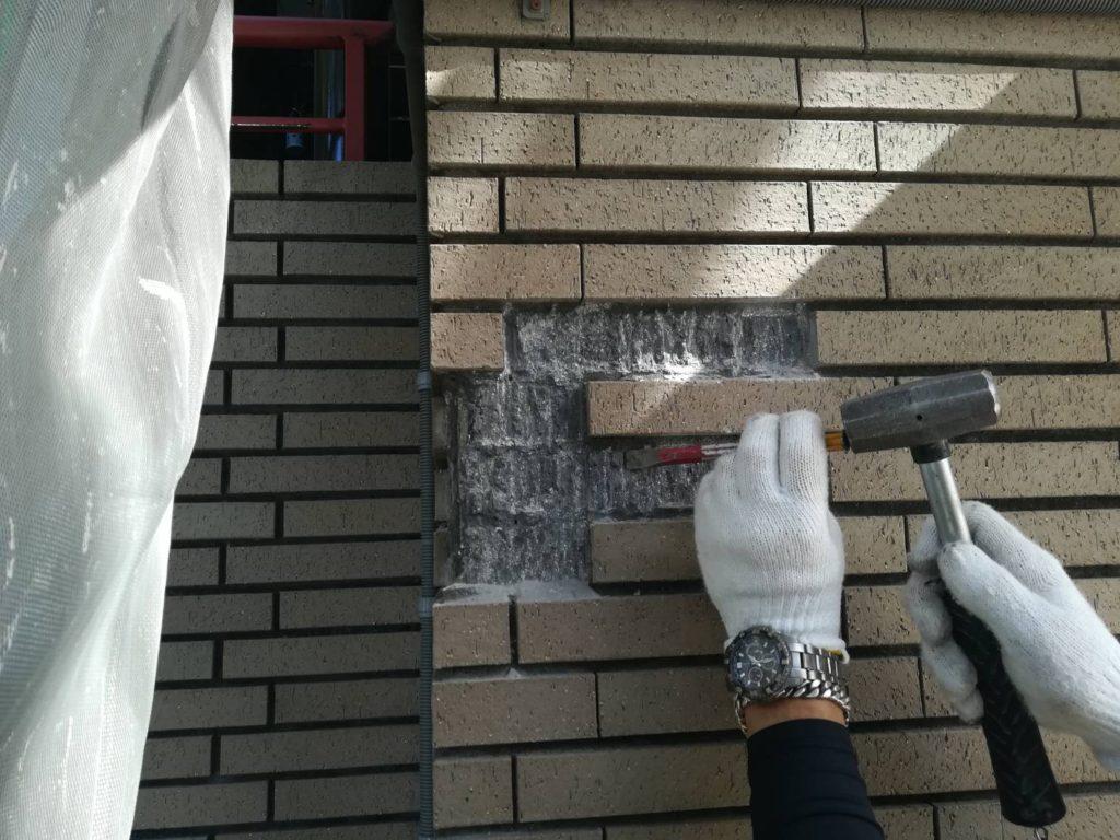 東京でタイル張替えと注入工事を行っております